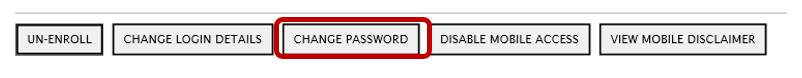screenshot of mobile banking change password highlighted within navigation